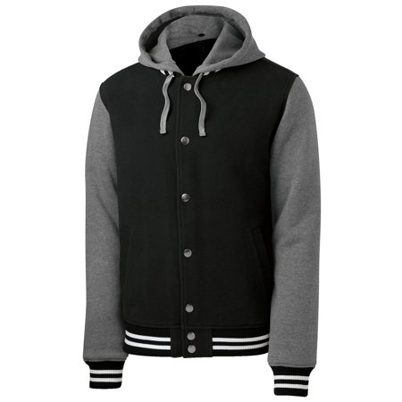 Sport Tek Men's Drawcord Insulated Letterman Jacket_Black/Vnt Hthr_X-Large - Letter Man Jacket