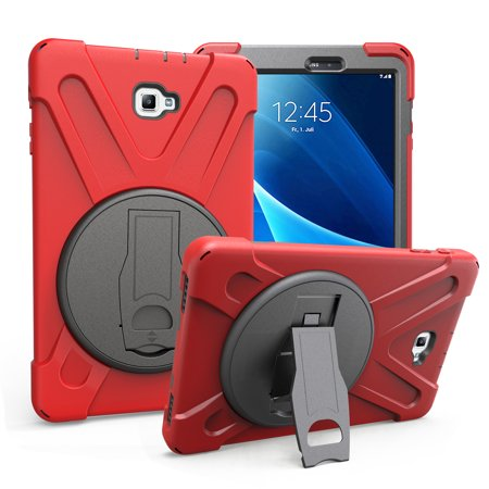 Galaxy Tab A 10.1 Case Cover by KIQ TM Hybrid Protective Shield Case Cover w/ Palm Handstrap for Samsung Galaxy Tab A 10.1 P580 w/ S Pen (Shield Red) (Palm Protective Case)