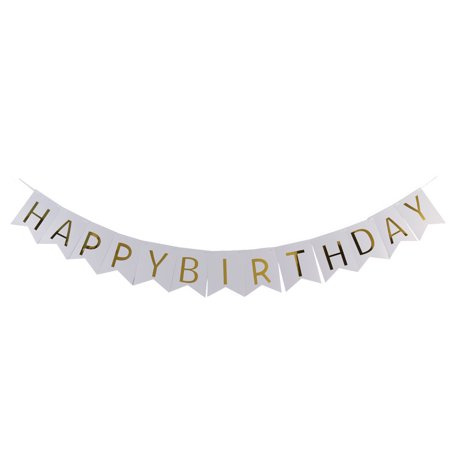 Paper HAPPY BIRTHDAY Letter Print DIY Party Hanger Decor Photo Prop Banner White - Diy Birthday Banner