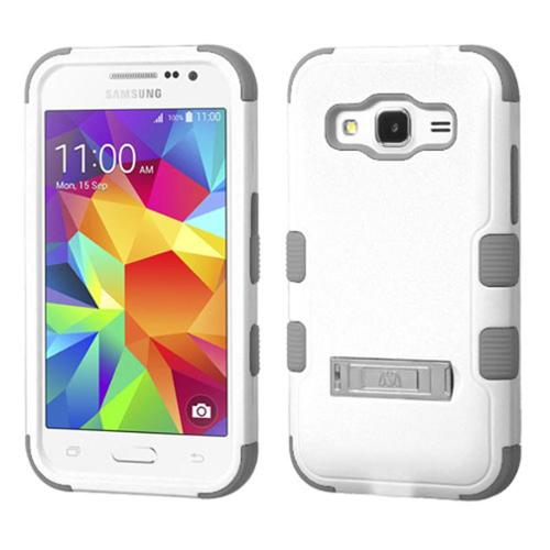 Insten Hard Hybrid Rubber Silicone Cover Case w/stand For Samsung Galaxy Core Prime - White/Gray