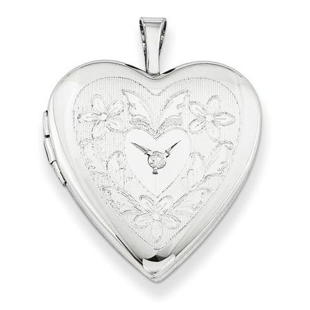 Sterling Silver 20mm Heart and Flowers Diamond Heart Locket - .01 dwt