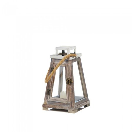 SMALL PYRAMID WOODEN LANTERN WITH ROPE ()