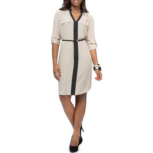 Miss Tina Women's Colorblock Shirt Dress
