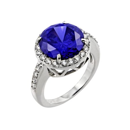 (.925 Sterling Silver Rhodium Plated Blue Round Tanzanite & Clear Inlay CZ  Ring)