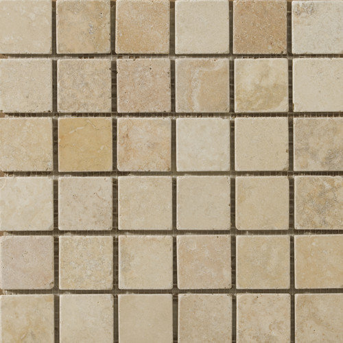 Emser Tile Natural Stone Vino 2'' x 2'' Travertine Unpolished Mosaic in Gold
