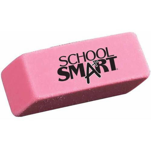 """School Smart Beveled End Latex-Free Small Smudge-Free Eraser, 1.88"""" x .075"""" x .38"""", Pink, Pack of 36"""