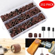 252pcs Sanding Drum Sander Kit with 240pcs Sanding Band 120# Sleeves 12 Pieces Drum Mandrels for Dremel Rotary Tool