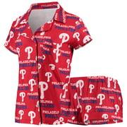 Philadelphia Phillies Concepts Sport Women's Zest Allover Print Button-Up Shirt & Shorts Sleep Set - Red