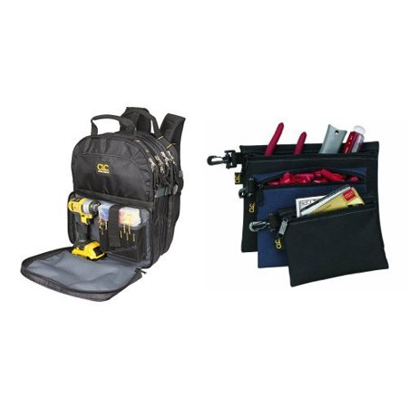 Custom LeatherCraft 1132 75-Pocket Tool Backpack - Backpack w- clip-on poly (Custom Leathercraft 1134 Tool Backpack 48 Pocket)