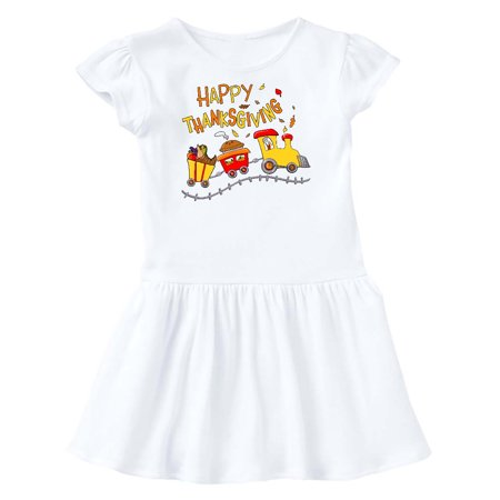 Happy Thanksgiving Turkey Train with Food Toddler Dress Flower Baby Train