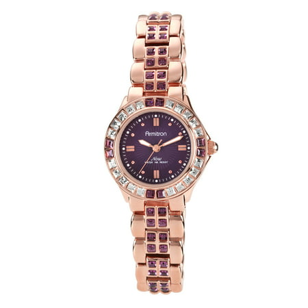 Gold Tone Floating Crystal Watch - Women's Amethyst-Colored Swarovski Crystal Accent Rose Gold-Tone Watch