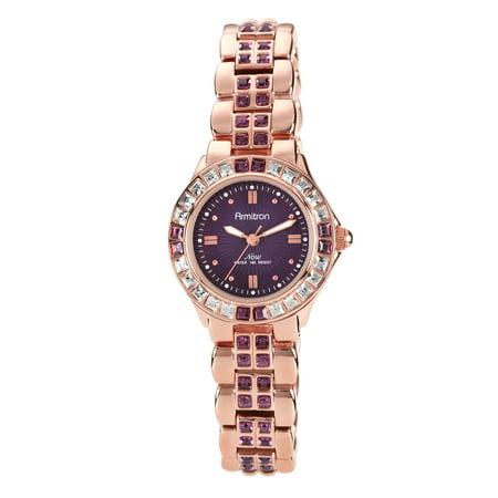 Armitron Women's Swarovski Crystal Bracelet Watch, 26mm, Rose Gold/Purple