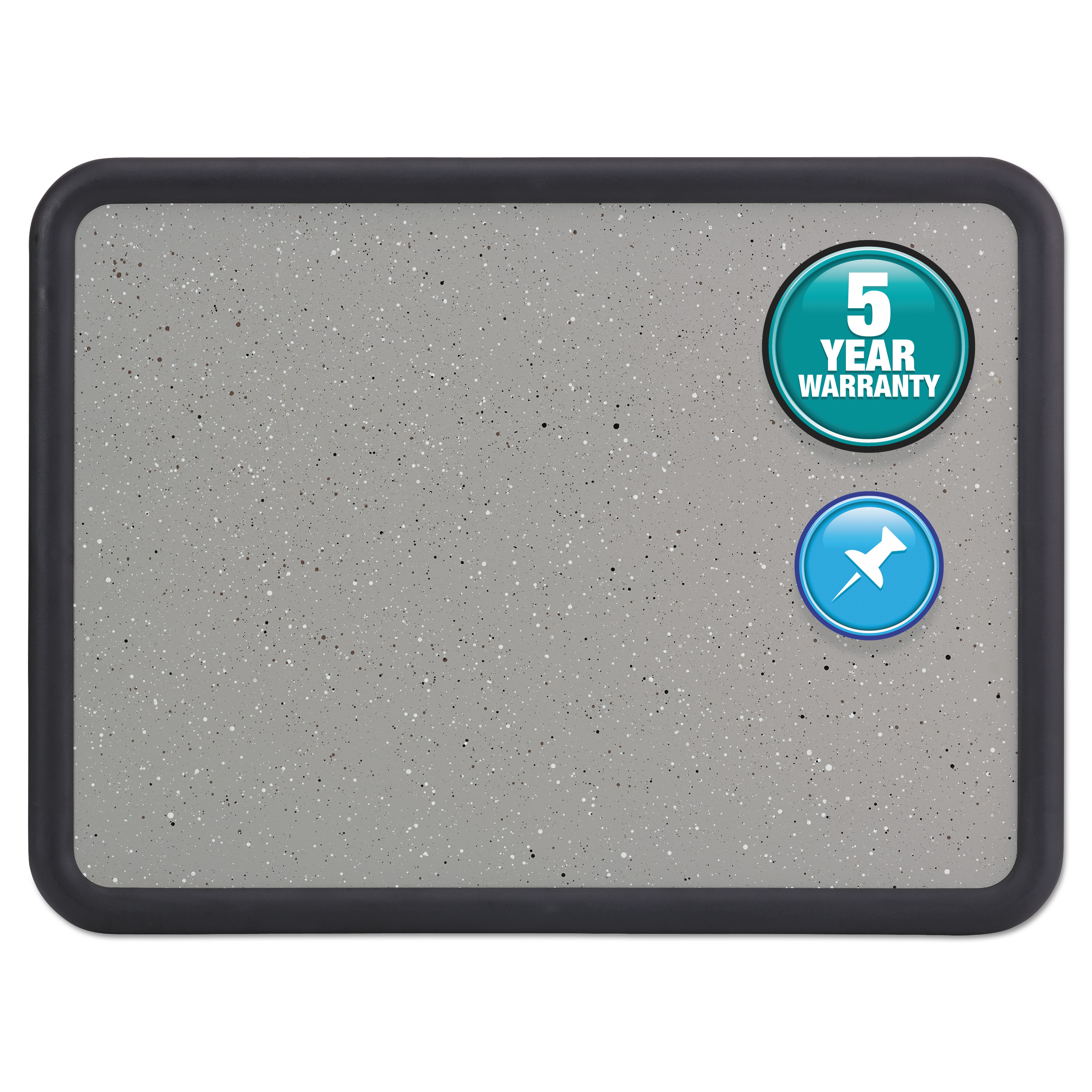 Quartet Contour Granite Gray Tack Board, 48 x 36, Black Frame -QRT699375