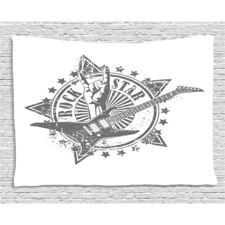 Guitar Tapestry, Stars with Rock Sign Monochrome Musical Instrument Design Rockstar Life Singing, Wall Hanging for Bedroom Living Room Dorm Decor, 60W X 40L Inches, Pale Grey White, by Ambesonne