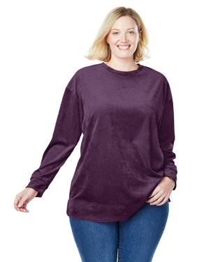 2f7f5d1a01a Product Image Woman Within Plus Size Plush Velour Tunic Sweatshirt
