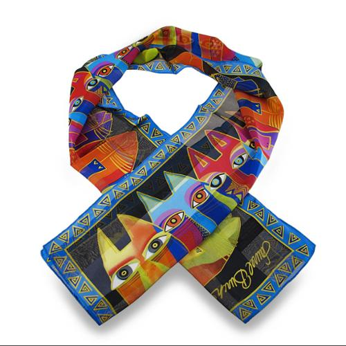 Laurel Burch Tribal Cats Silk Scarf 54 X 11.5 In.