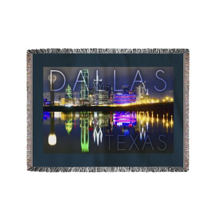 Dallas, Texas - Skyline at Night - Lantern Press Photography (60x80 Woven Chenille Yarn Blanket)