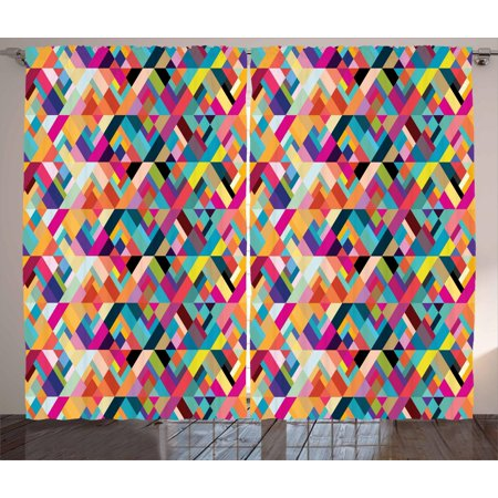 Abstract Curtains 2 Panels Set, Bauhaus Style Pattern of Geometric Shapes as Colorful Diagonal Tiles Modern Print, Window Drapes for Living Room Bedroom, 108W X 63L Inches, Multicolor, by Ambesonne ()
