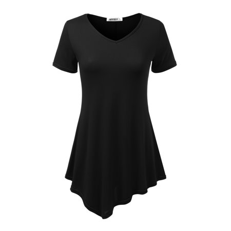 Doublju Women's Short Sleeve Swing Tunic Tops for Leggings Flowy Basic T Shirt Plus Size BLACK -