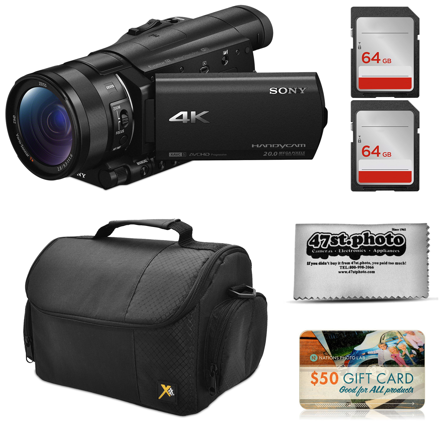 Sony FDR-AX100 4K Ultra HD Camcorder Video Camera + 128GB Memory, Carrying Case, Gift Card, Microfiber Cleaning Cloth