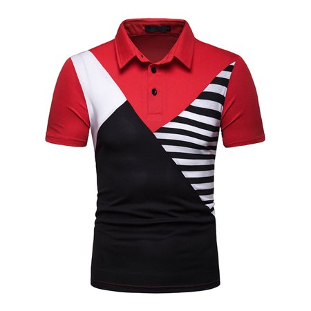 Mens Striped POLO T-Shirt Short Sleeve Tops Fashion Casual