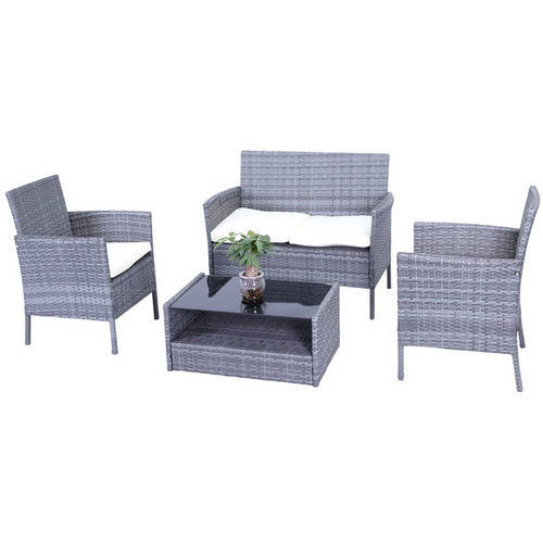 ALEKO RTBG09GRY Indoor Outdoor Hamptons Rattan 4 Piece Patio Furniture and Coffee Table Set, Grey Color with Cream Cushions