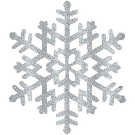 GLITTER SILVER SNOWFLAKE DECORATION LARGE ,1 COUNT - Large Snowflake