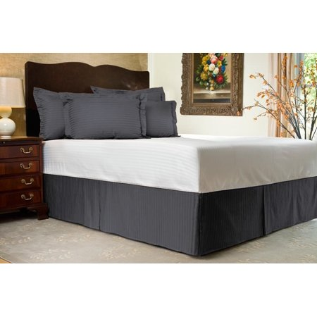 Pleated Bed Skirt Full Xl Size Stripe Dark Gray Luxury Double