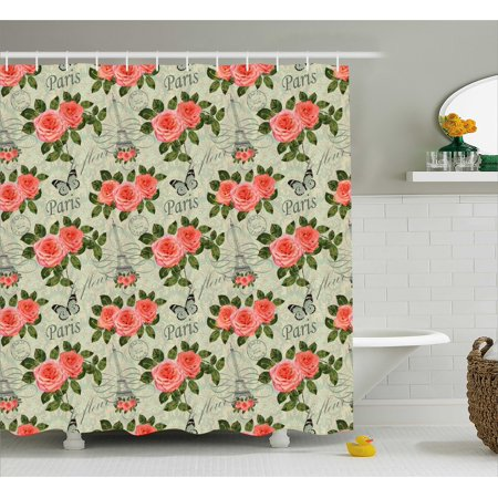 Shabby Chic Shower Curtain, Paris Lettering with Roses and Leaves ...
