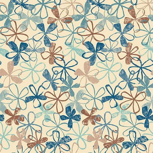 Blue Mountain Allover Hawaiian Floral Wallcovering