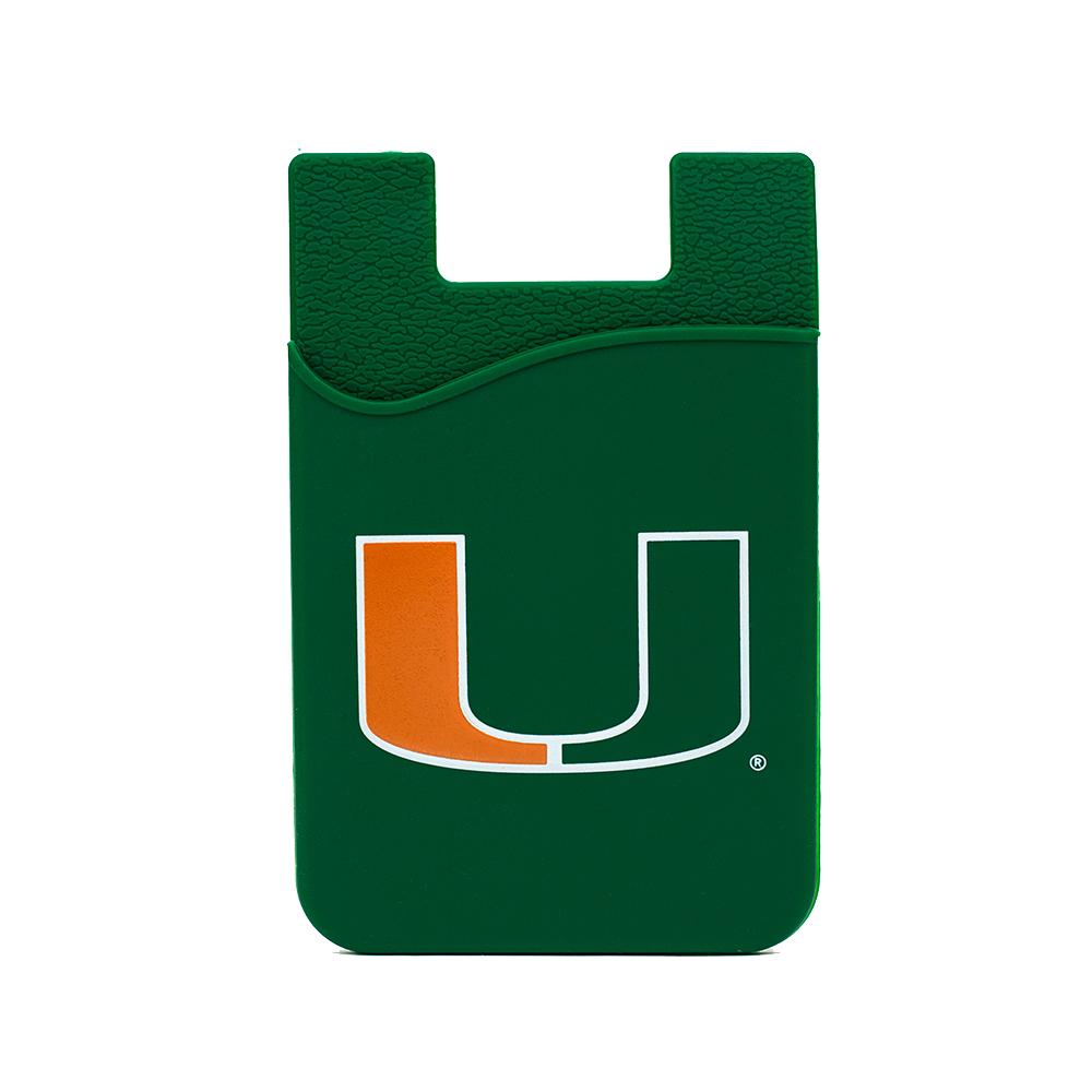 U Miami Hurricanes Silicone Credit Card Keeper Phone Wallet NCAA