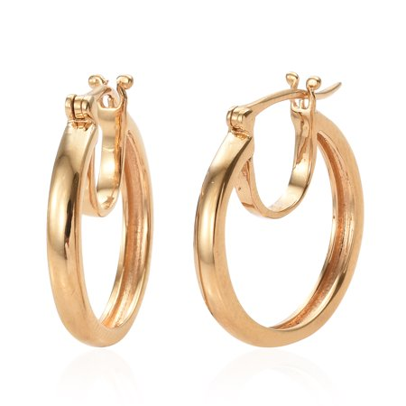 8fc3f1f88 Shop LC - 925 Sterling Silver 14K Yellow Gold Plated Fashion Hoops Hoop  Earrings for Women - Walmart.com
