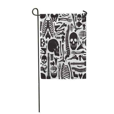 Big Boned Skeleton (KDAGR Monochrome Human Skeleton Big Skulls and Various Single Bones Flat Garden Flag Decorative Flag House Banner 28x40)