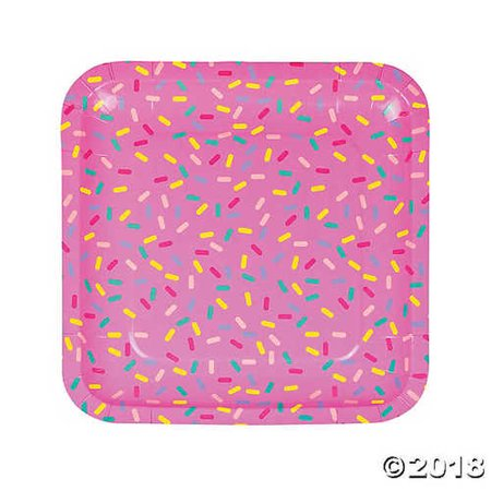 Donut Party Square Paper Dinner Plates (Donut Plates)