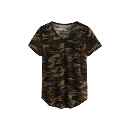 - Topumt Women Camouflage T-shirt Short Sleeve V-neck Camo Shirt Jumper Blouse Tops Tee