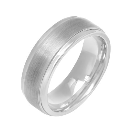 Mens Tungsten 8MM Satin and Polished Finish Wedding Band - Mens Ring