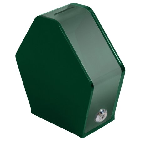 MCB Pentagon Shaped Acrylic Charity Donation Box - Ballot Box - Collection Box - Tip Container - W/ Lock (Green)
