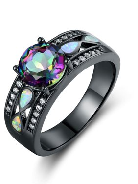 Rhodium Plated Rainbow Quartz Fire Opal Ring