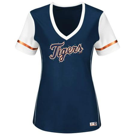 "Detroit Tigers Womens Majestic MLB ""Curveball"" V-Neck Fashion Shirt Top by"