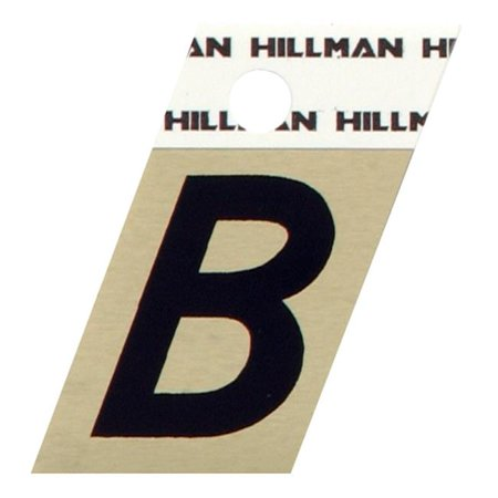 Hillman Group 840496 1.5 in. Black & Gold Glossy Aluminum Angle-Cut Adhesive Letter - B -  6 Piece