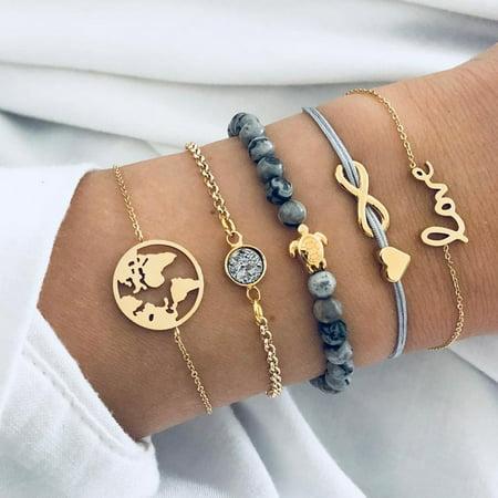 Fancyleo Handmade Weaving Turtle Letter  Set Women Fashion Crystal Stone Bracelet Jewelry