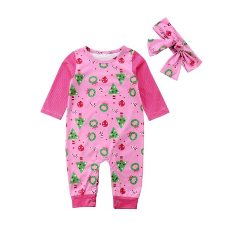 cfd68c60e007 Newborn Baby Girls Christmas Romper Winter Long Sleeve Striped Xmas ...