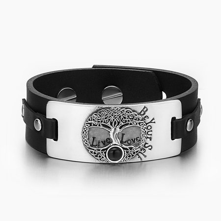 Charming Life Black Onyx (Tree of Life Live Love Be Your Self Celtic Amulet Simulated Black Onyx Adjustable Black Leather)