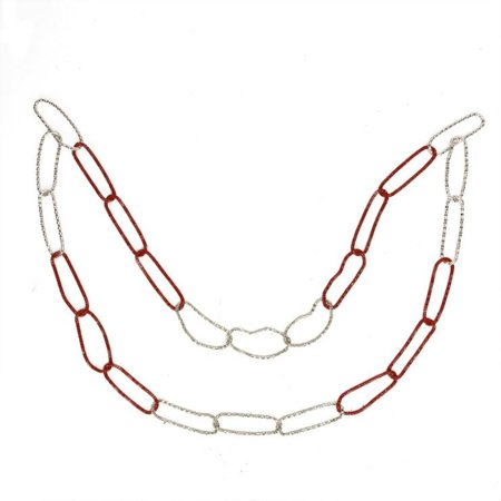 Roman 3' Red/Silver Loops Round Unlit Artificial Christmas Chain Garland