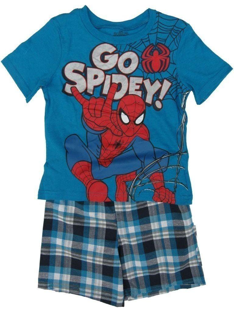 "Marvel Little Boys Blue ""Go Spidey"" Printed Tee Plaid 2 Pc Shorts Set"