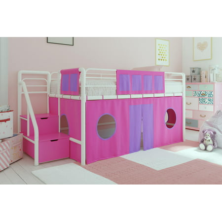 DHP Junior White Loft Bed with Pink Storage Steps and Pink Curtain Set, Kid's Bundle, (Embrace Twin Loft Bed With Storage Steps)