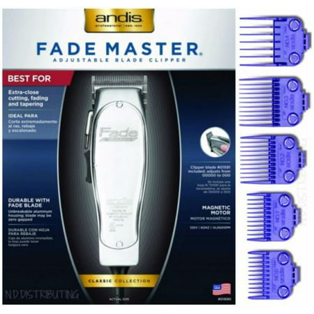 Andis Professional Fade Master Hair Clipper with Adjustable Fade Blade - Andis Master Dual Magnet 5-Comb (Master Clipper Replacement Blade)