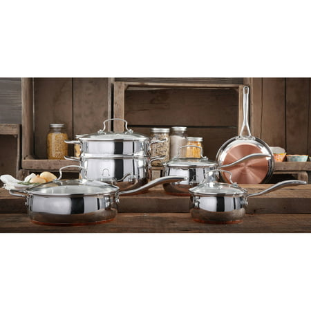 The Pioneer Woman Copper Charm Stainless Steel Copper Bottom Cookware Set, 10 Piece