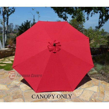Formosa Covers 9ft Umbrella Replacement Canopy 8 Ribs in Red (Canopy Only)