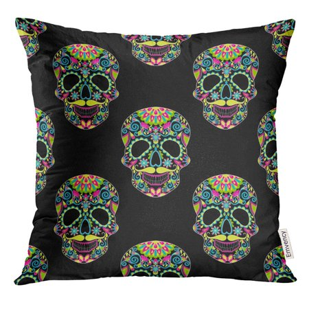 CMFUN Zentangle Color Sugar Skull for Halloween Dark with Artistically Doodle Ethnic Ornamental Tattoo Prints Pillow Case 18x18 Inches Pillowcase